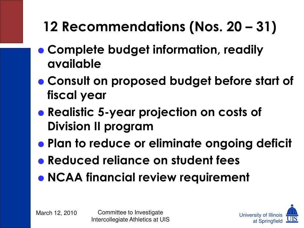 12 Recommendations (Nos. 20 – 31)