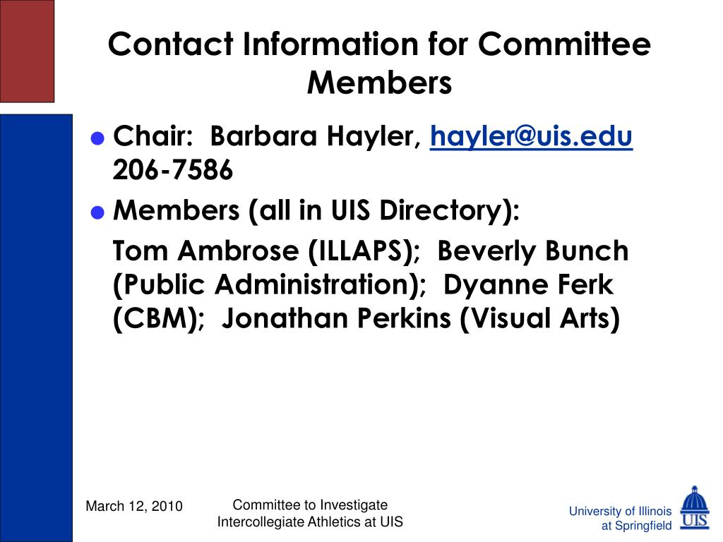Contact Information for Committee Members