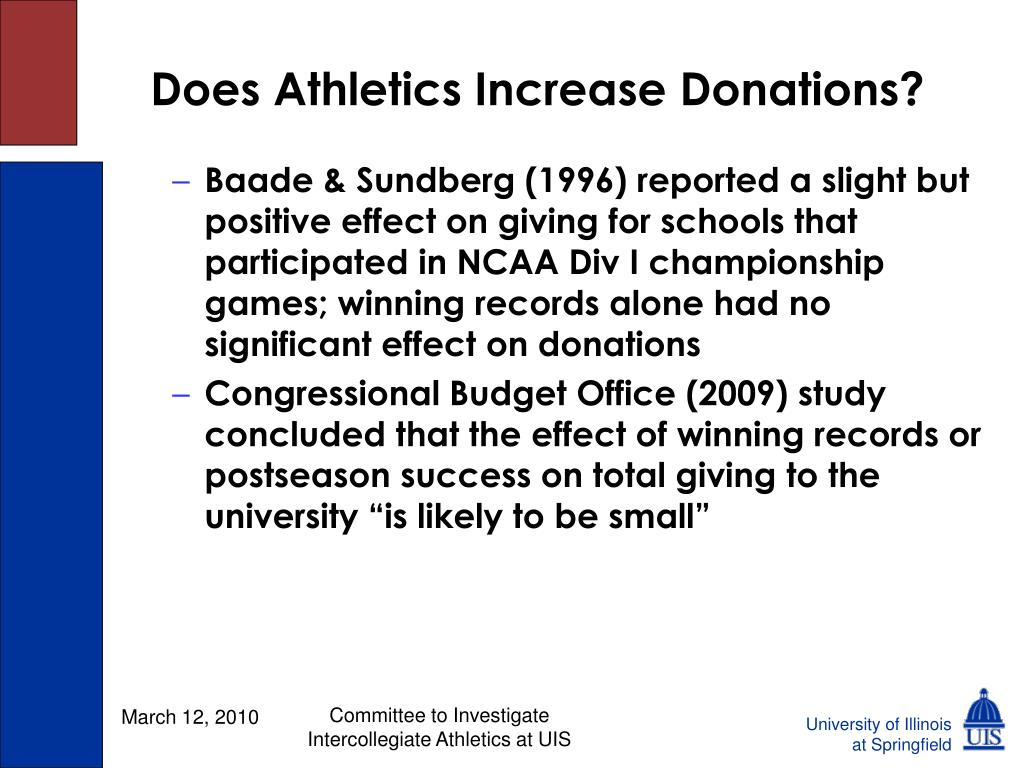 Does Athletics Increase Donations?