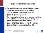 expectations for coaches