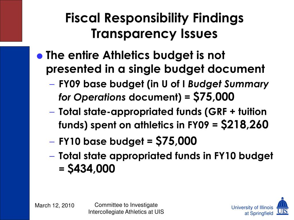 Fiscal Responsibility Findings