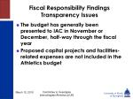 fiscal responsibility findings transparency issues23