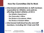 how the committee did its work