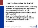 how the committee did its work6