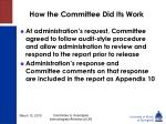 how the committee did its work7