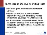 is athletics an effective recruiting tool32