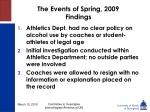 the events of spring 2009 findings