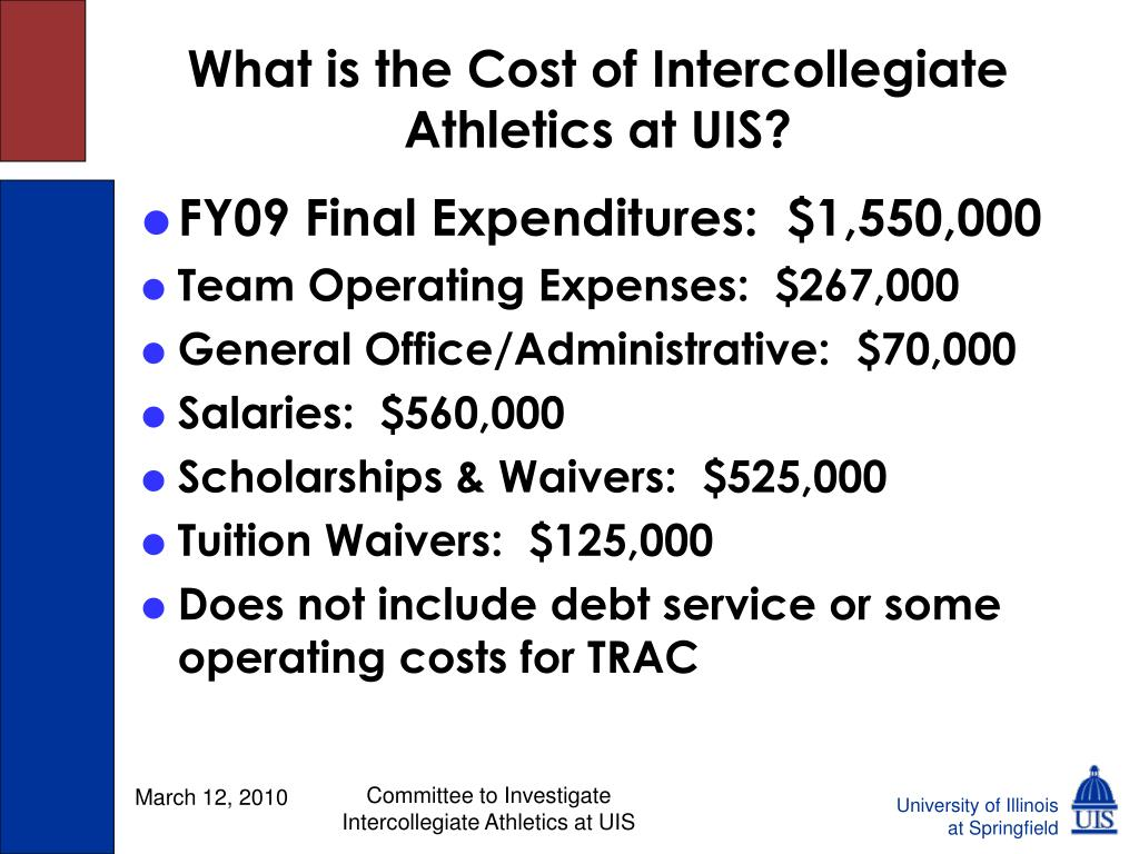 What is the Cost of Intercollegiate Athletics at UIS?