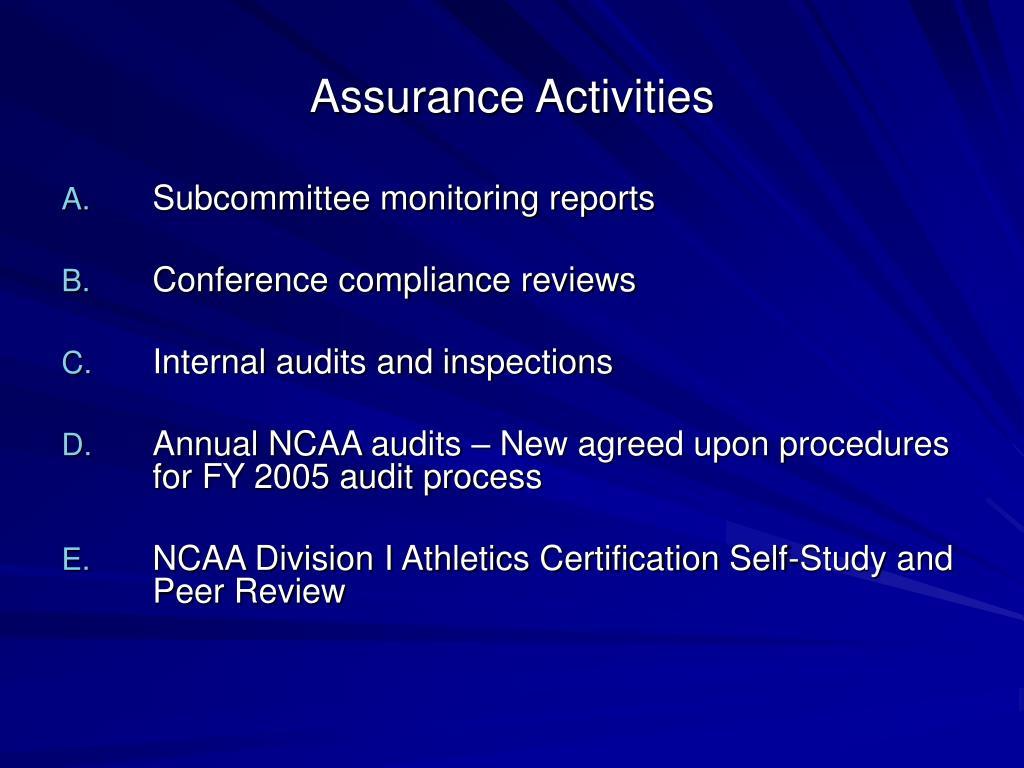 Assurance Activities