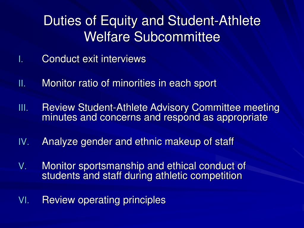 Duties of Equity and Student-Athlete Welfare Subcommittee