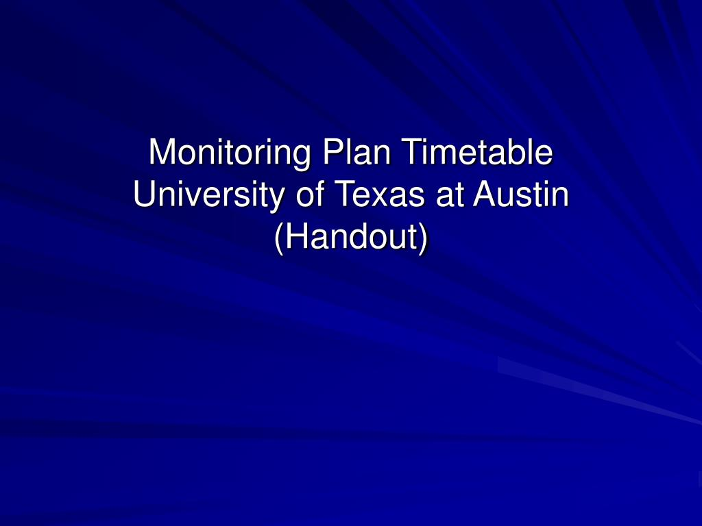Monitoring Plan Timetable