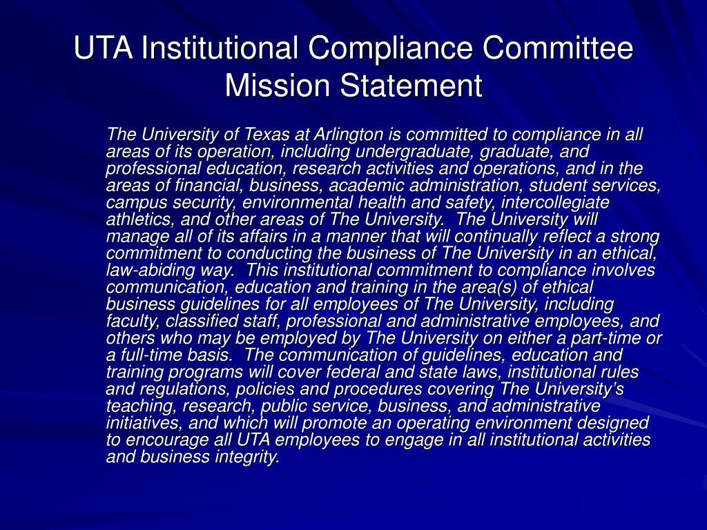 UTA Institutional Compliance Committee