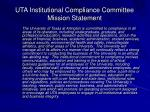 uta institutional compliance committee mission statement
