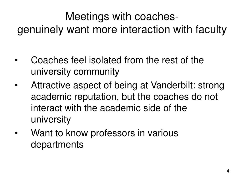Meetings with coaches-