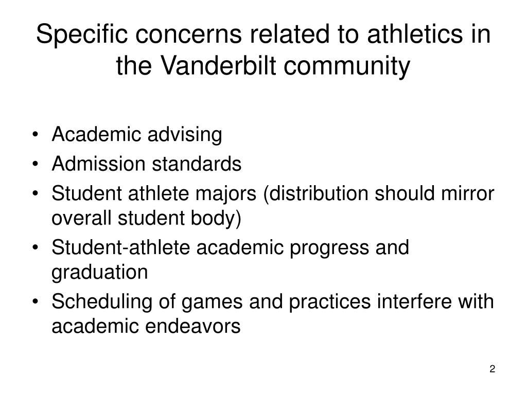 Specific concerns related to athletics in the Vanderbilt community