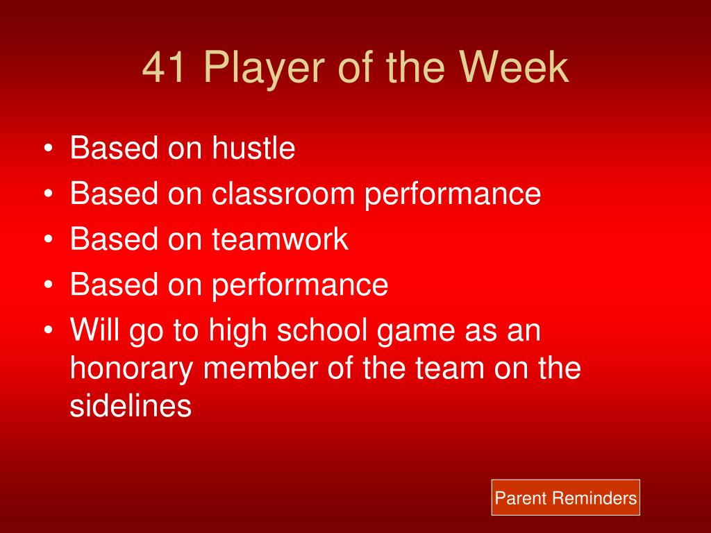 41 Player of the Week