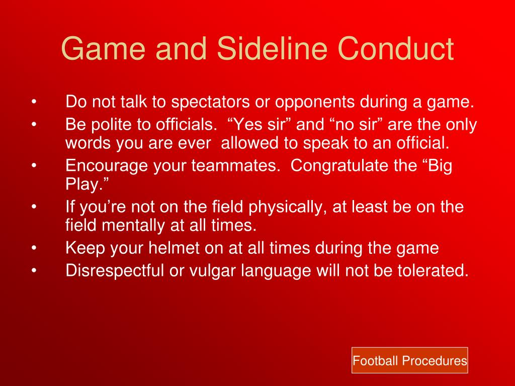 Game and Sideline Conduct