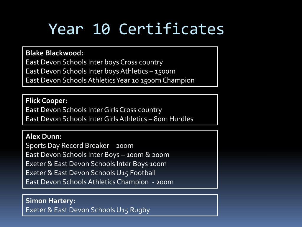 Year 10 Certificates