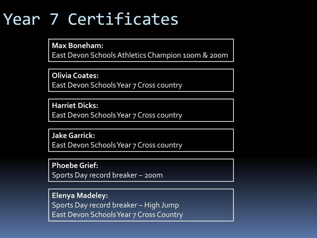 Year 7 Certificates