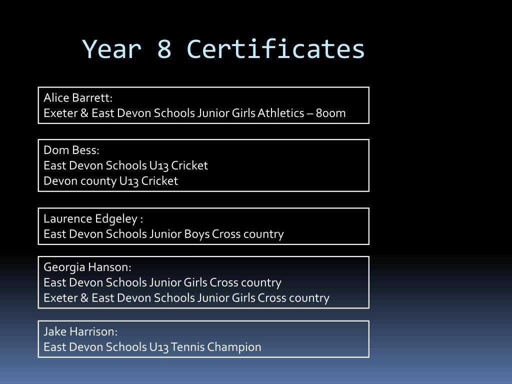 Year 8 Certificates
