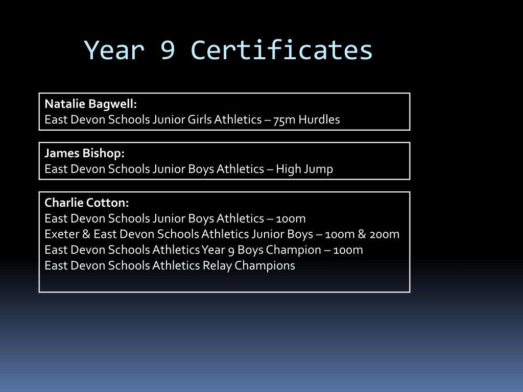 Year 9 Certificates
