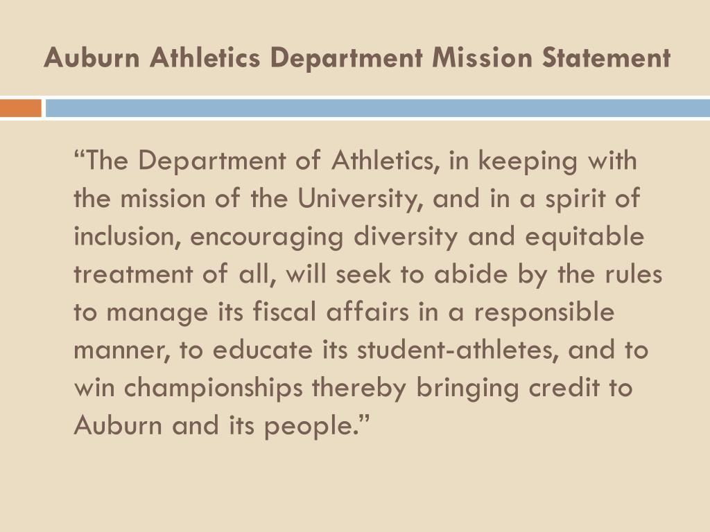 Auburn Athletics Department Mission Statement