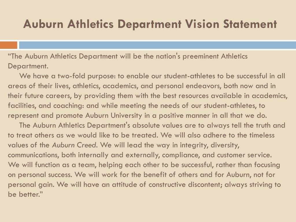 Auburn Athletics Department Vision Statement