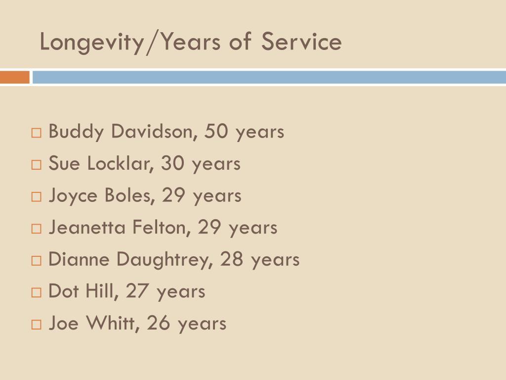 Longevity/Years of Service