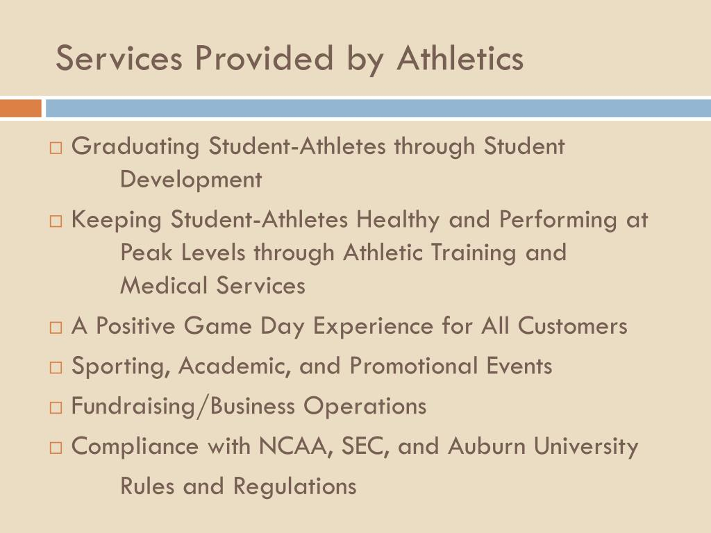 Services Provided by Athletics