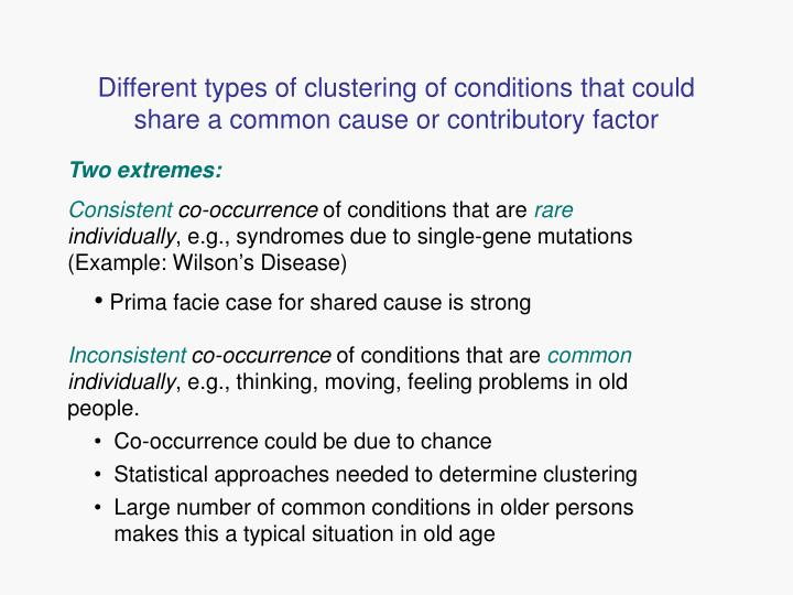 Different types of clustering of conditions that could share a common cause or contributory factor