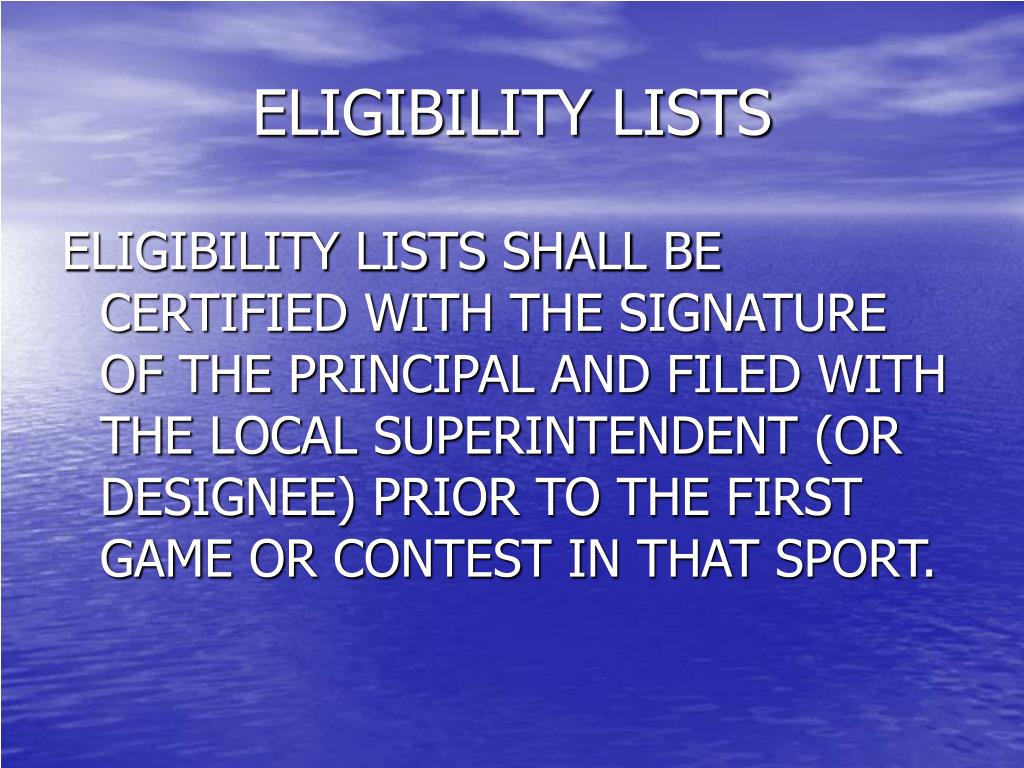 ELIGIBILITY LISTS