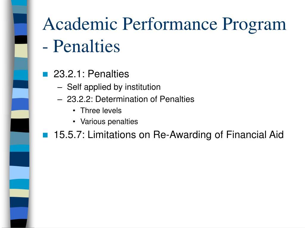 Academic Performance Program - Penalties