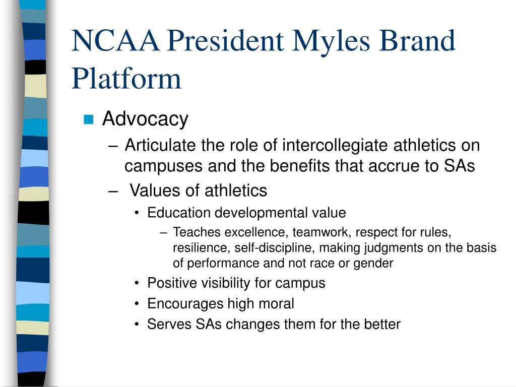 NCAA President Myles Brand Platform