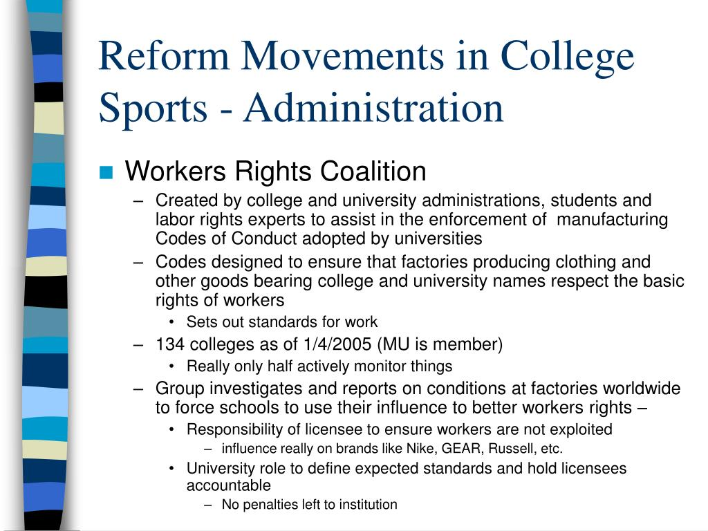 Reform Movements in College Sports - Administration