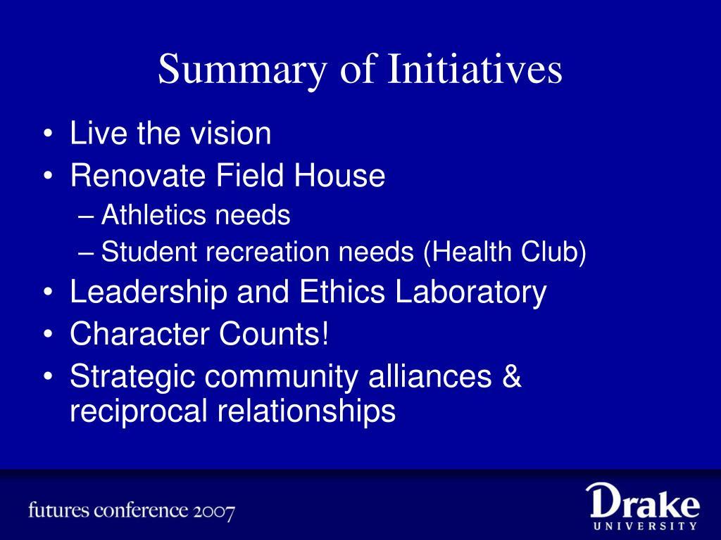 Summary of Initiatives