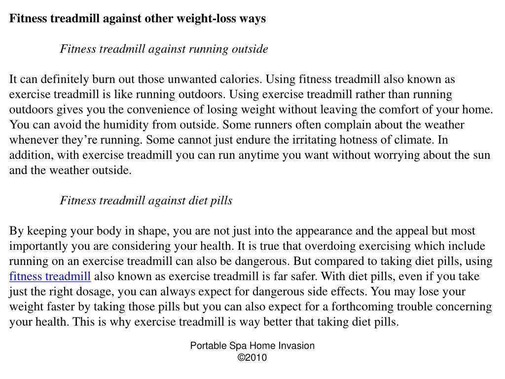 Fitness treadmill against other weight-loss ways