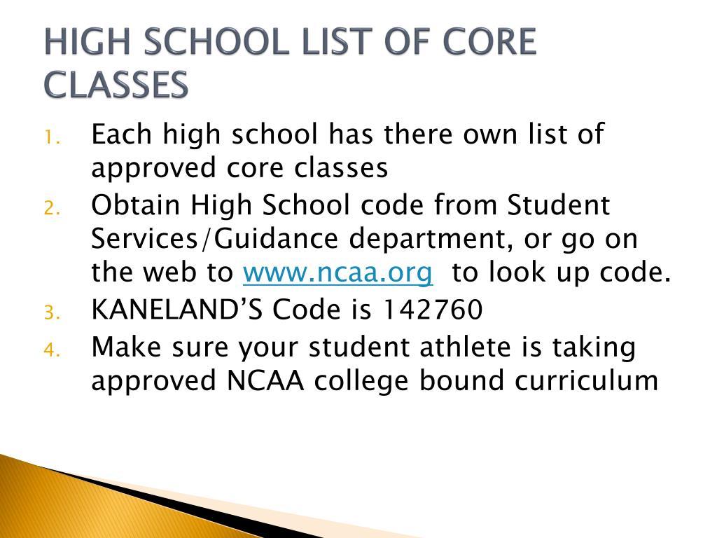 HIGH SCHOOL LIST OF CORE CLASSES