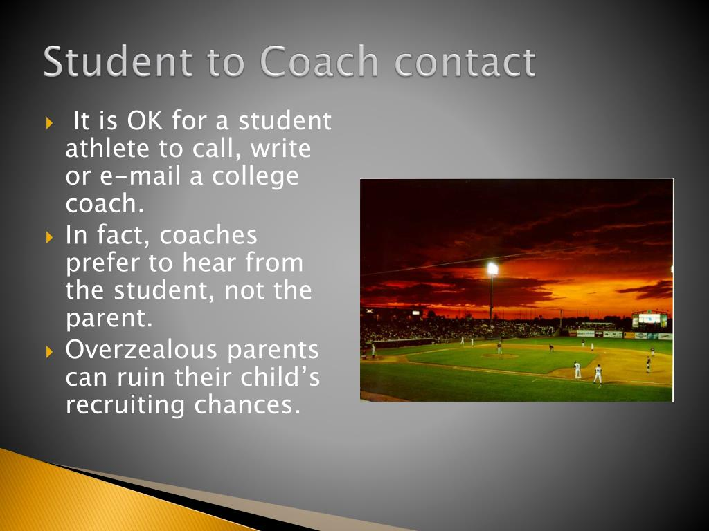 Student to Coach contact