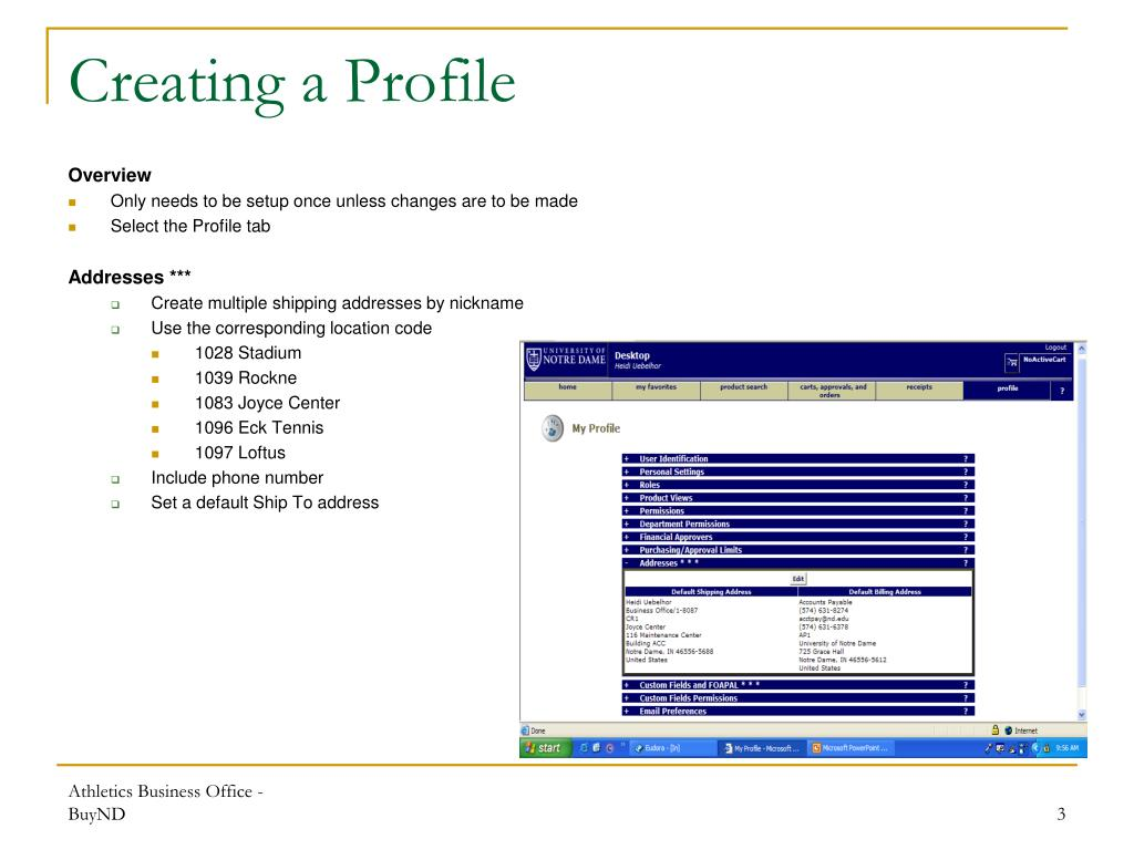 Creating a Profile