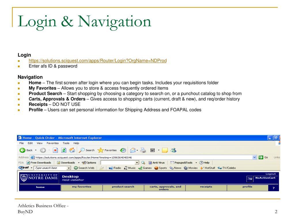 Login & Navigation