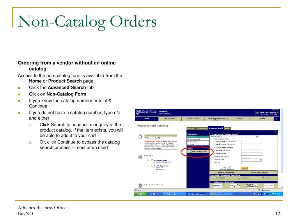 Non-Catalog Orders