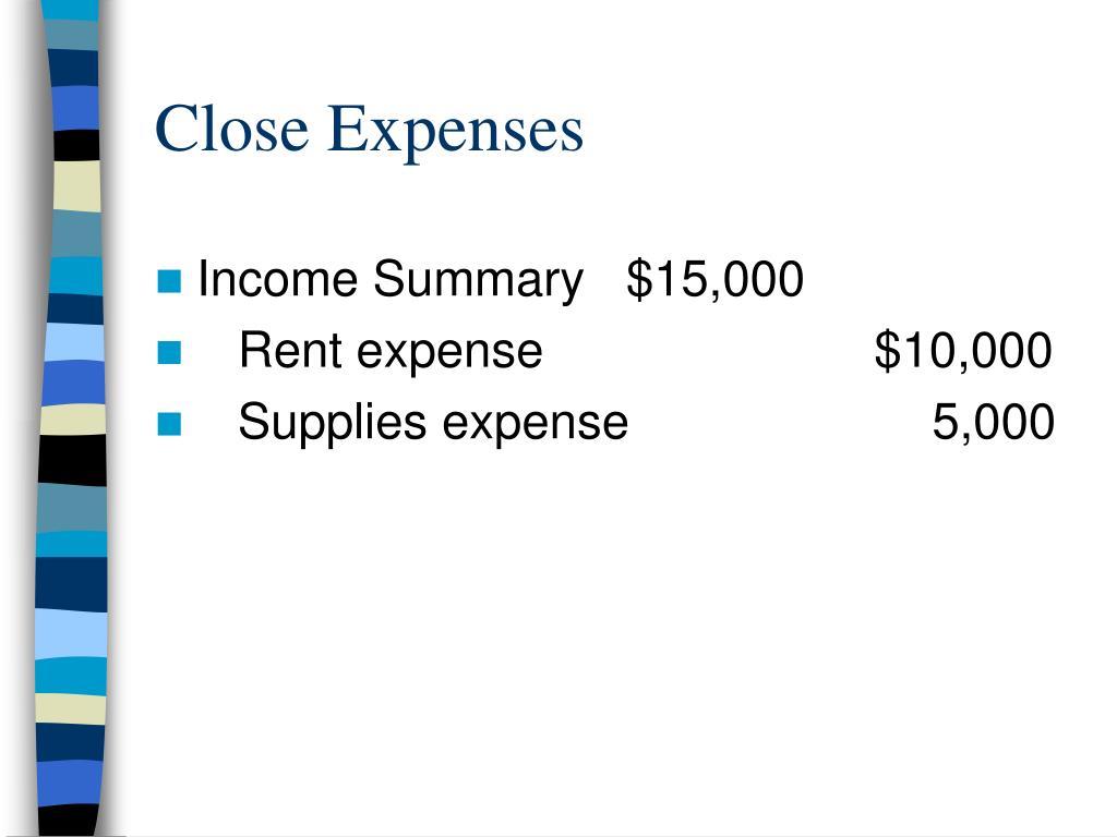 Close Expenses