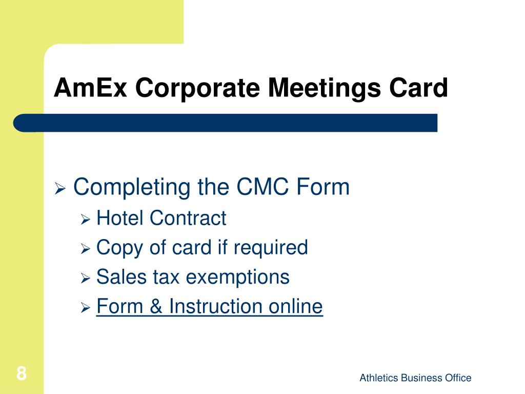 AmEx Corporate Meetings Card