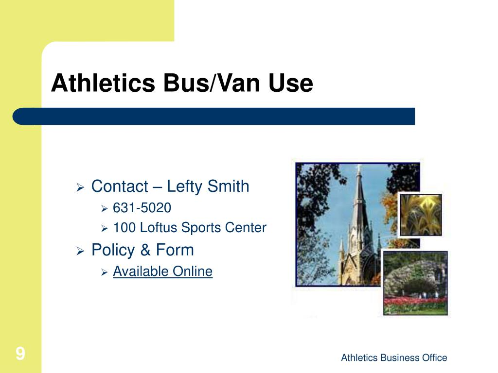 Athletics Bus/Van Use