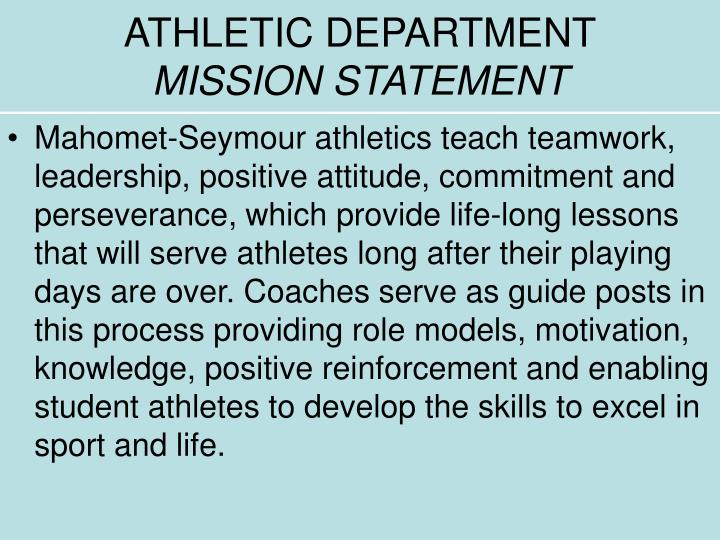 Athletic department mission statement
