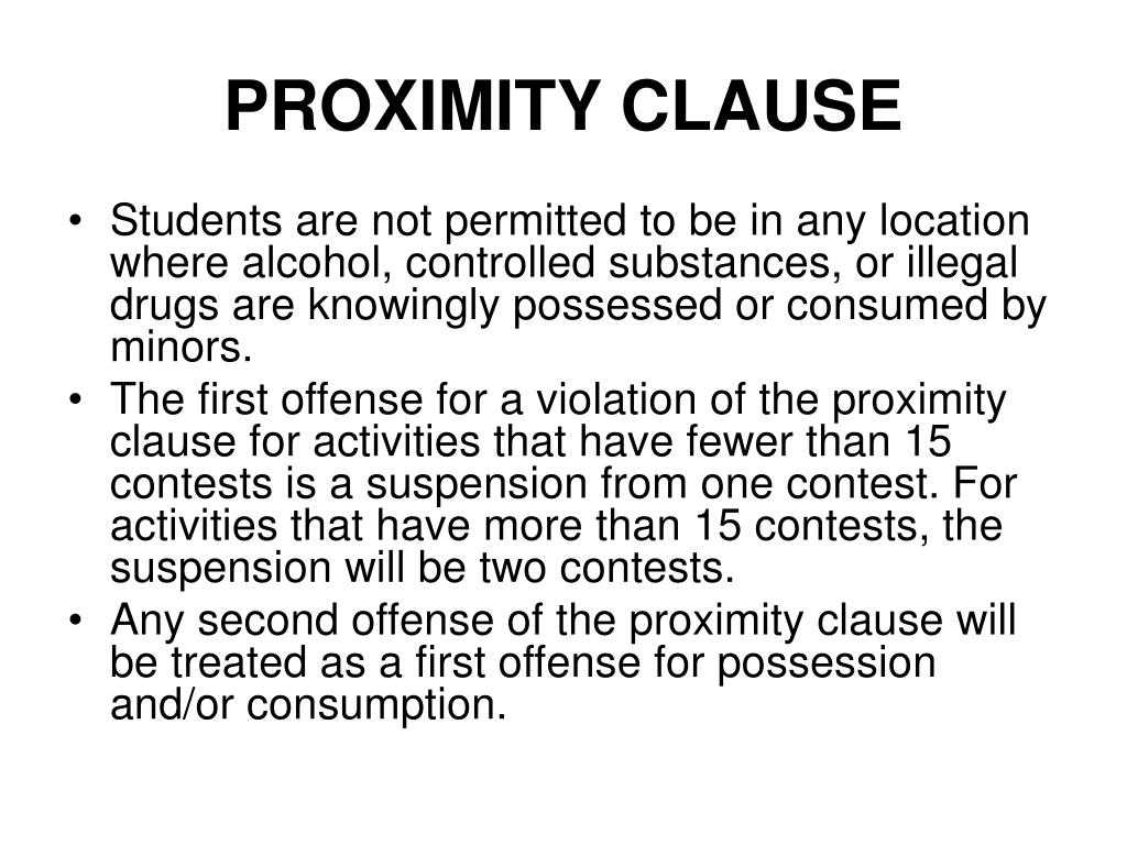 PROXIMITY CLAUSE