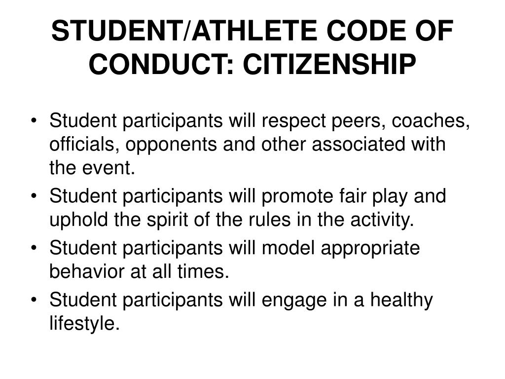STUDENT/ATHLETE CODE OF CONDUCT: CITIZENSHIP