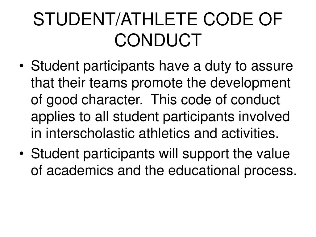 STUDENT/ATHLETE CODE OF CONDUCT