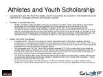 athletes and youth scholarship