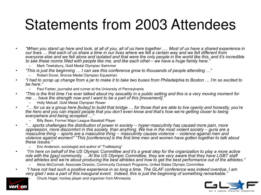 Statements from 2003 Attendees